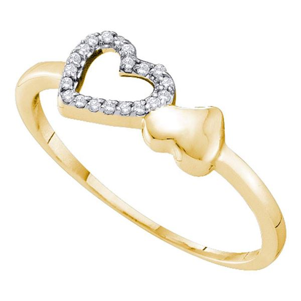 Round Diamond Sloender Double Heart Ring 1/20 Cttw 10KT Yellow Gold