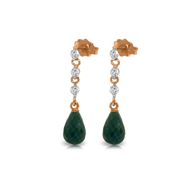 Genuine 6.9 ctw Green Sapphire Corundum & Diamond Earrings 14KT Rose Gold - REF-44T9A