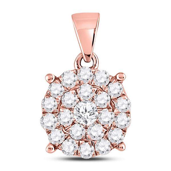 Round Diamond Cluster Pendant 1 Cttw 10KT Rose Gold