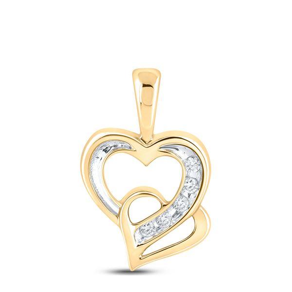 Round Diamond Double Heart Pendant 1/20 Cttw 10KT Yellow Gold
