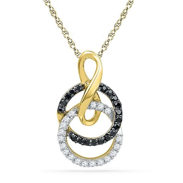Round Black Color Enhanced Diamond Double Circle Pendant 1/5 Cttw 10KT Yellow Gold