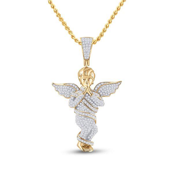 Round Diamond Praying Angel Wings Charm Pendant 7/8 Cttw 10KT Yellow Gold