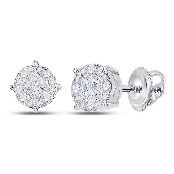 Princess Round Diamond Cluster Earrings 1 Cttw 14KT White Gold