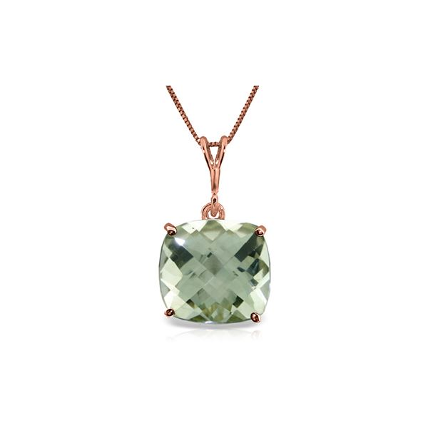 Genuine 3.6 ctw Green Amethyst Necklace 14KT Rose Gold - REF-28H9X