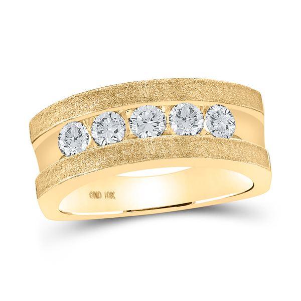 Machine-Set Round Diamond 5-stone Wedding Ring 1 Cttw 10KT Yellow Gold