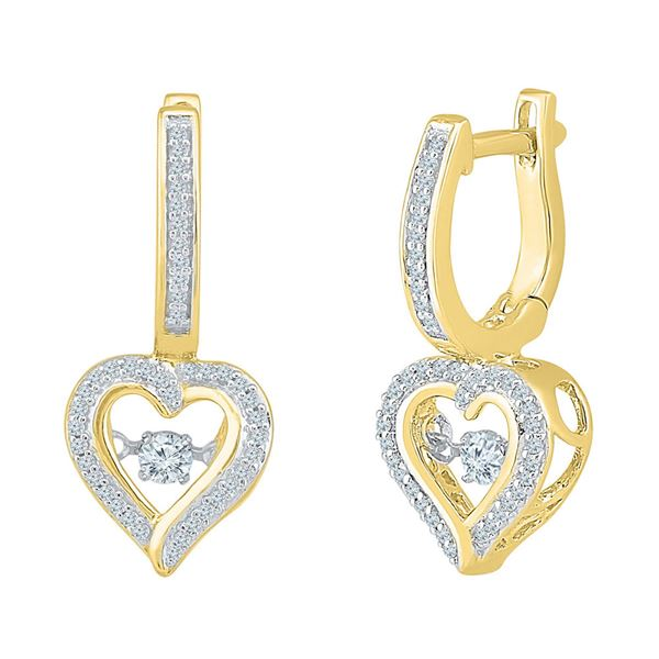 Round Diamond Heart Dangle Hoop Earrings 1/4 Cttw 10KT Yellow Gold