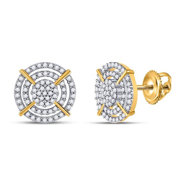 Round Diamond Circle Cluster Earrings 3/8 Cttw 10KT Yellow Gold