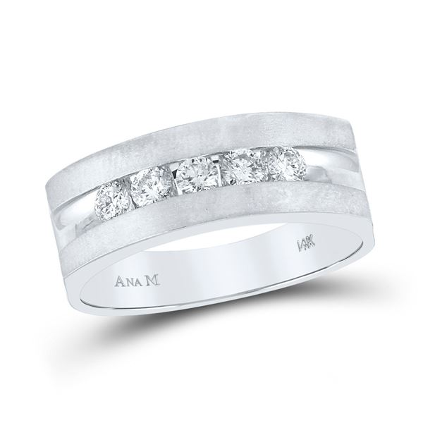 Round Diamond Wedding 5-Stone Band Ring 1/2 Cttw 14KT White Gold