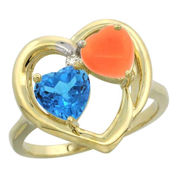 1.31 CTW Swiss Blue Topaz & Diamond Ring 14K Yellow Gold - REF-33A5X