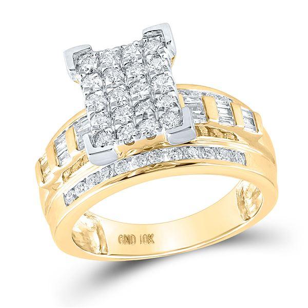 Diamond Cinderella Cluster Bridal Wedding Engagement Ring 1 Cttw 10KT Yellow Gold