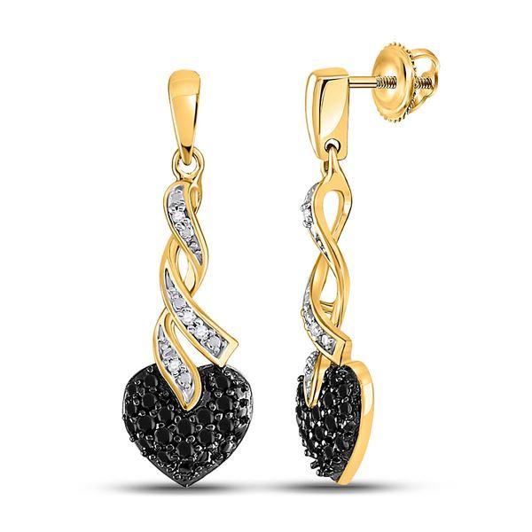 Round Black Color Enhanced Diamond Heart Earrings 1/5 Cttw 10KT Yellow Gold