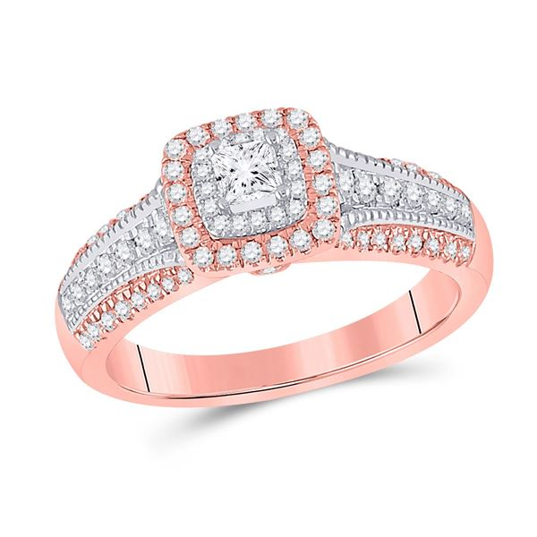Halo Bridal Wedding Engagement Ring 1/2 Cttw 14KT Two-tone Gold
