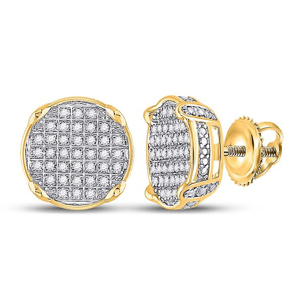 Round Diamond Circle Cluster Earrings 1/4 Cttw 10KT Yellow Gold