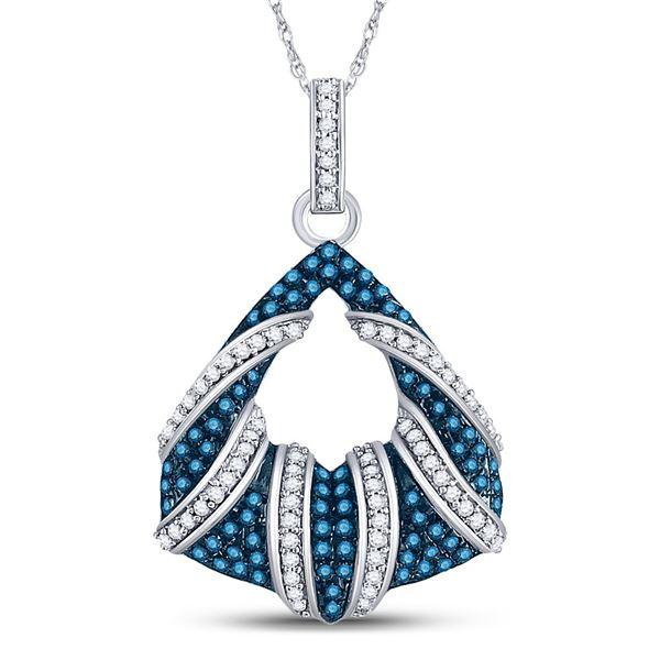 Round Blue Color Enhanced Diamond Fashion Pendant 1/3 Cttw 10KT White Gold