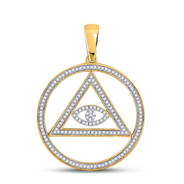 Round Diamond All-Seeing Eye of Providence Charm Pendant 1/2 Cttw 10KT Yellow Gold