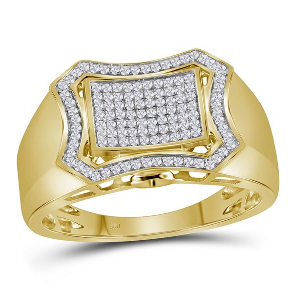 Round Diamond Curved Octagon Cluster Ring 1/3 Cttw 10KT Yellow Gold