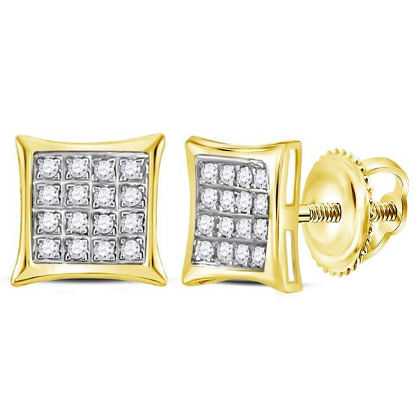 Round Diamond Square Kite Cluster Stud Earrings 1/10 Cttw 10KT Yellow Gold