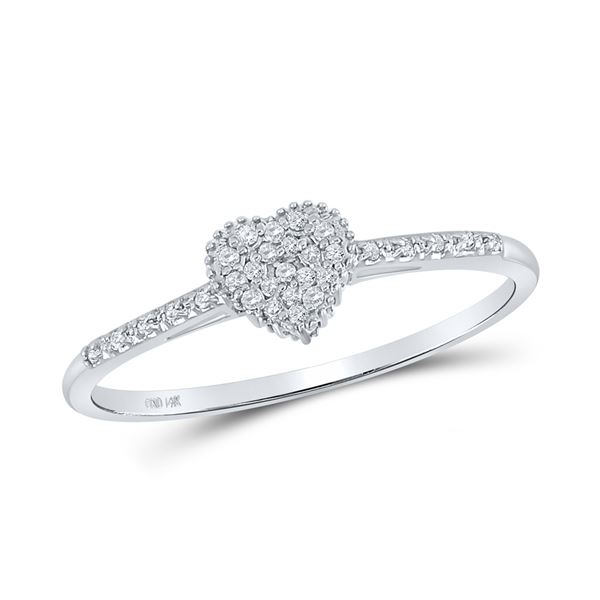 Round Diamond Slender Heart Ring 1/20 Cttw 14KT White Gold