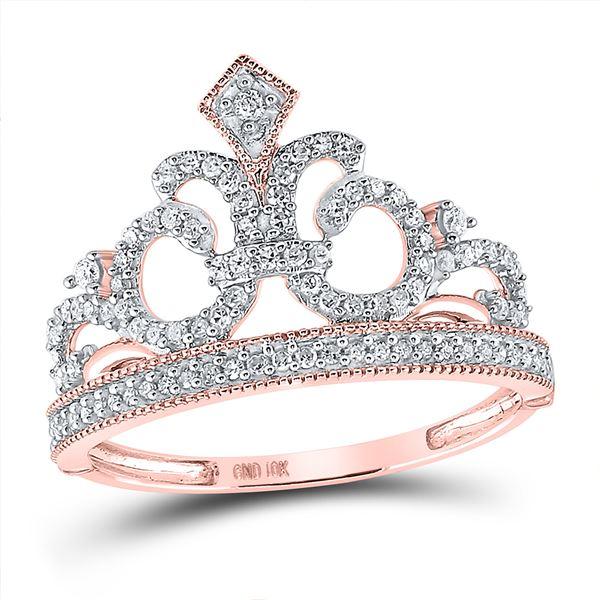 Round Diamond Fleur Crown Tiara Fashion Ring 1/5 Cttw 10KT Rose Gold