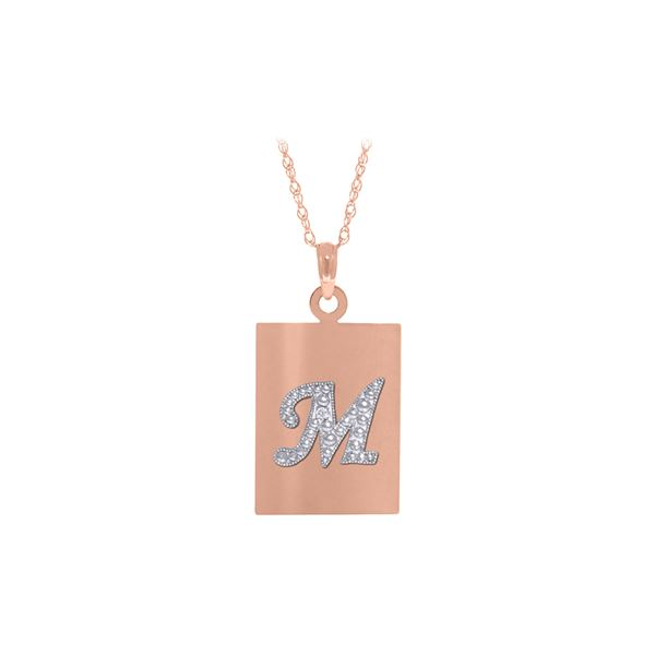Genuine 0.01 ctw Diamond Anniversary Necklace 14KT Rose Gold - REF-68A8K