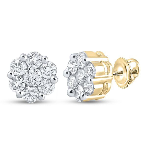 Round Diamond Flower Cluster Stud Earrings 2 Cttw 14KT Yellow Gold