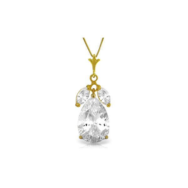 Genuine 6.5 ctw White Topaz Necklace 14KT Yellow Gold - REF-38W2Y