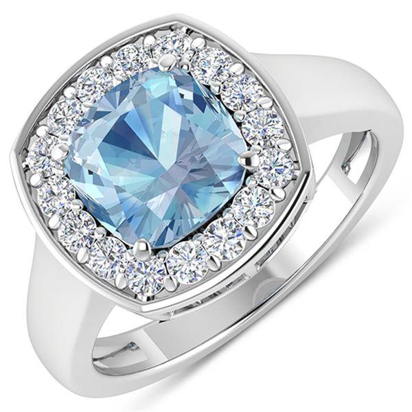 Natural 2.18 CTW Aquamarine & Diamond Ring 14K White Gold - REF-79K7W