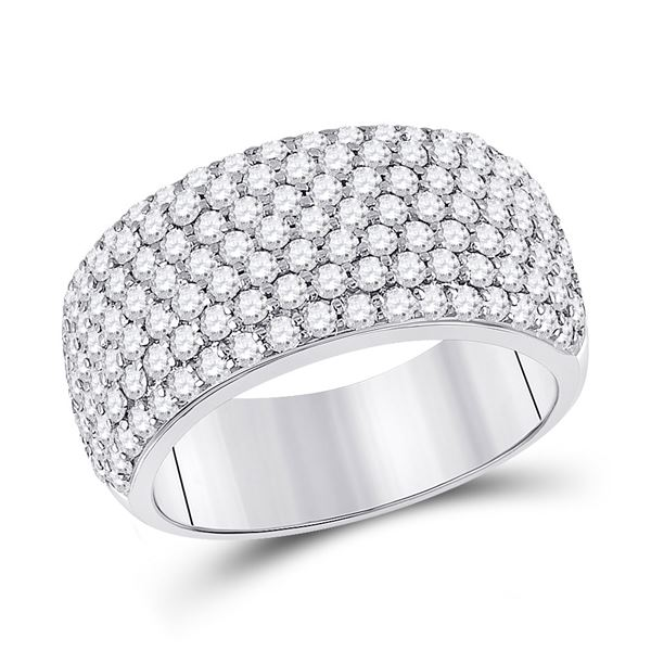 Round Diamond Pave Anniversary Ring 1-7/8 Cttw 14KT White Gold