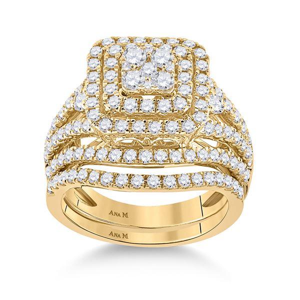 Diamond Bridal Wedding Ring Band Set 1-3/4 Cttw 14KT Yellow Gold