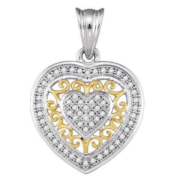 Round Diamond Openwork Heart Pendant 1/6 Cttw 10KT Two-tone Gold