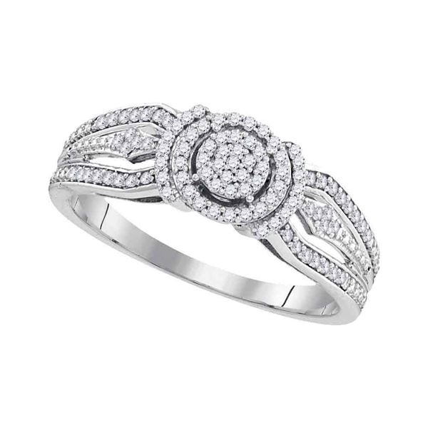 Diamond Cluster Bridal Wedding Engagement Ring 1/4 Cttw 10KT White Gold