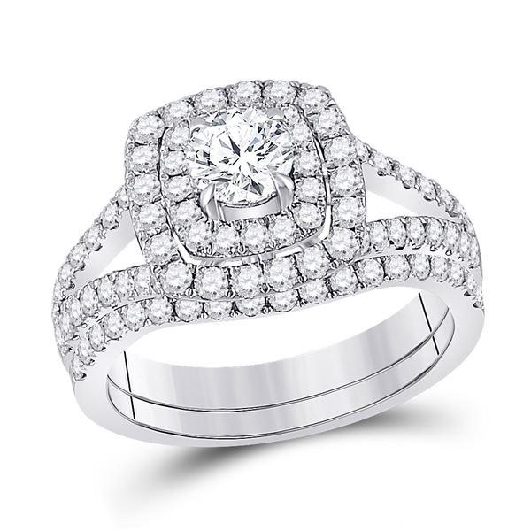 Diamond Bridal Wedding Ring Band Set 1-5/8 Cttw 14KT White Gold