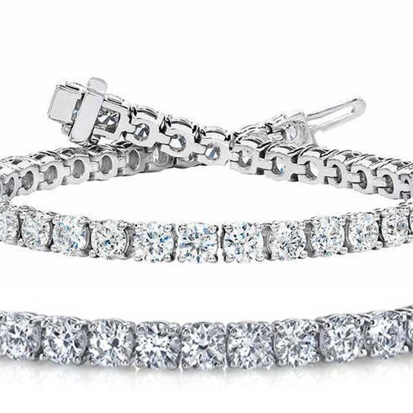 Natural 7.04ct VS2-SI1 Diamond Tennis Bracelet 18K White Gold - REF-672M5X