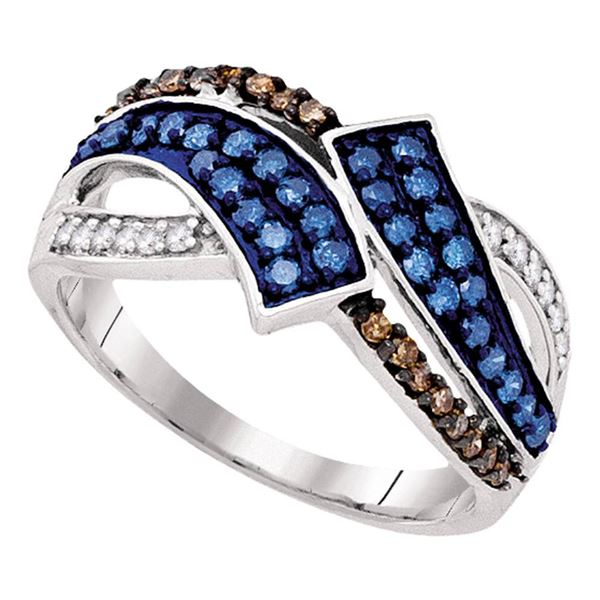 Round Blue Color Enhanced Diamond Bypass Crossover Band Ring 1/2 Cttw 10KT White Gold