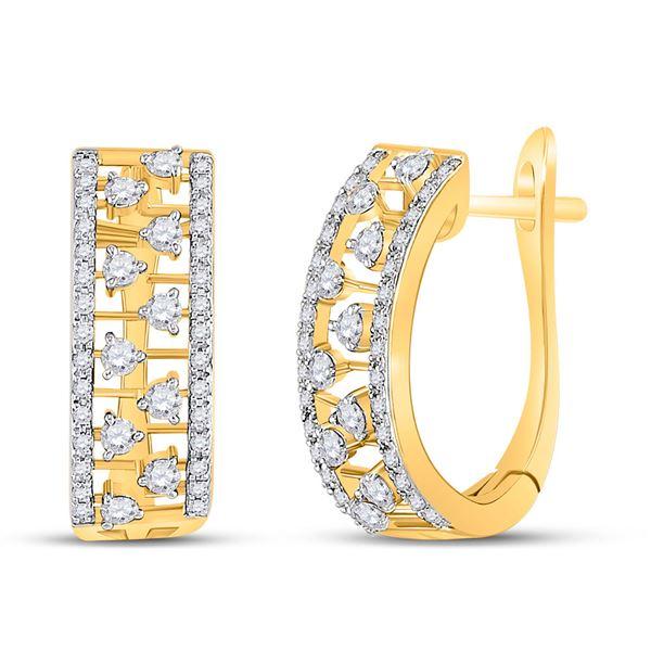 Round Diamond Oblong Hoop Earrings 1/2 Cttw 14KT Yellow Gold