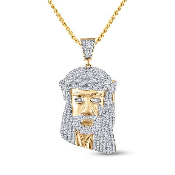 Round Diamond Jesus Face Charm Pendant 1-1/3 Cttw 10KT Yellow Gold