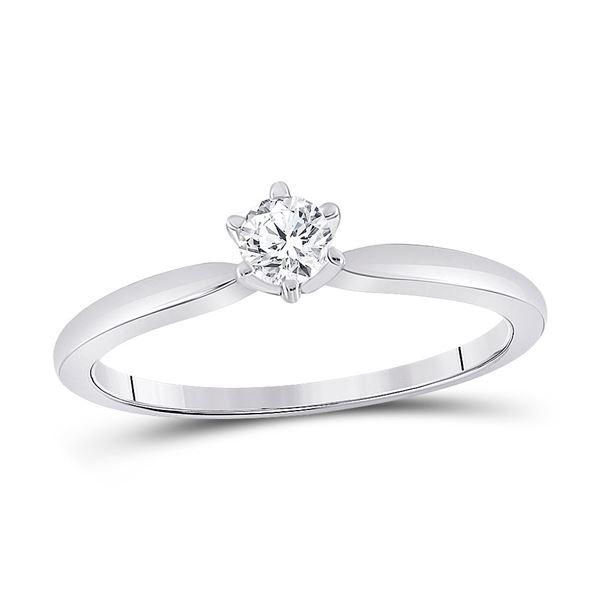 Round Diamond Solitaire Bridal Wedding Engagement Ring 1/5 Cttw 14KT White Gold