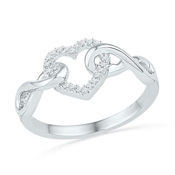 Round Diamond Infinity Twist Heart Ring 1/10 Cttw 10KT White Gold