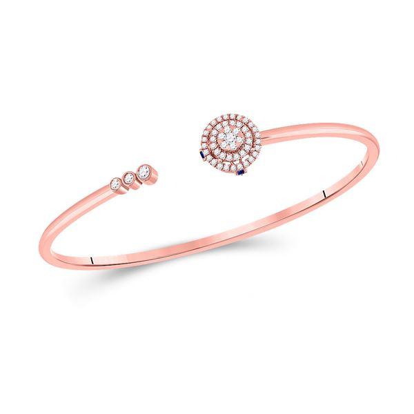 Round Diamond Statement Bisected Bangle Bracelet 1/2 Cttw 14KT Rose Gold
