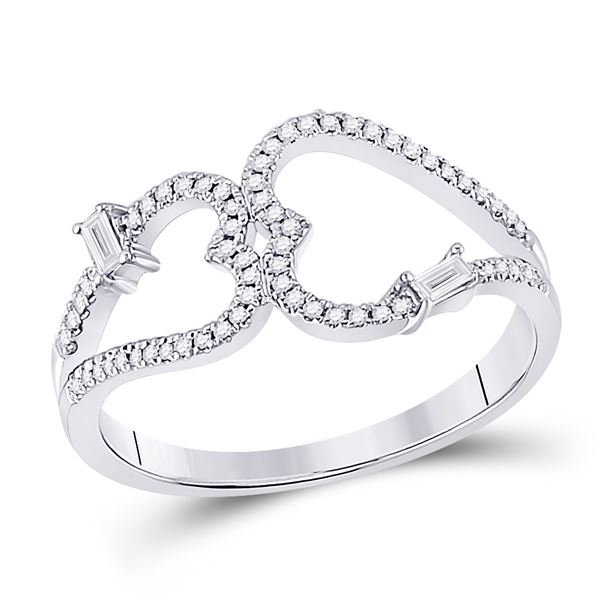 Round Diamond Double Heart Ring 1/5 Cttw 14KT White Gold