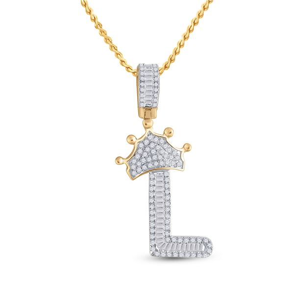 Baguette Diamond Crown L Letter Charm Pendant 1/2 Cttw 10KT Yellow Gold