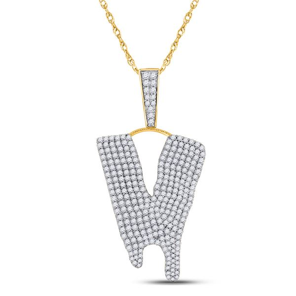 Round Diamond Dripping V Letter Charm Pendant 2-7/8 Cttw 10KT Yellow Gold