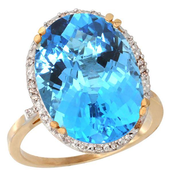 13.71 CTW Swiss Blue Topaz & Diamond Ring 10K Yellow Gold - REF-57A6X