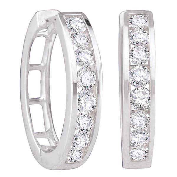 Round Diamond Hoop Earrings 1/2 Cttw 10KT White Gold