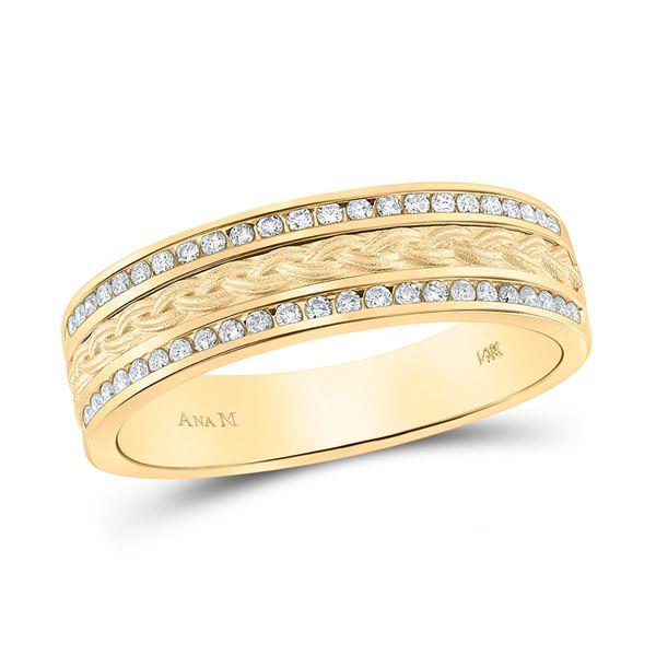 Round Diamond Wedding Braid Band Ring 1/3 Cttw 14KT Yellow Gold