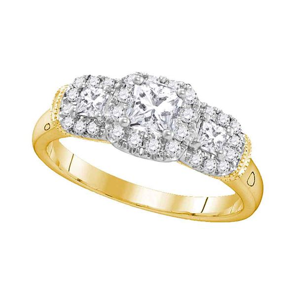 3-stone Bridal Wedding Engagement Ring 3/4 Cttw 14KT Yellow Gold