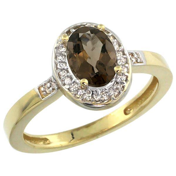 1.15 CTW Quartz & Diamond Ring 14K Yellow Gold - REF-37H9M