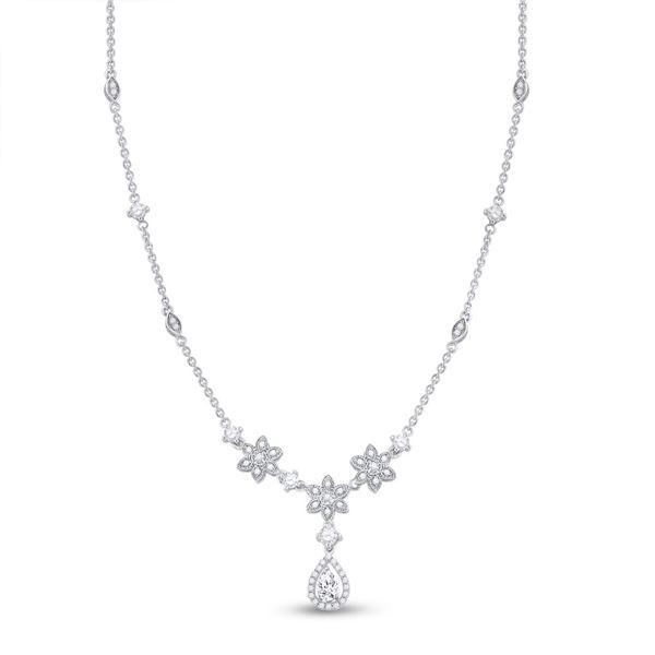 Pear Diamond Flower Teardrop Necklace 7/8 Cttw 14KT White Gold