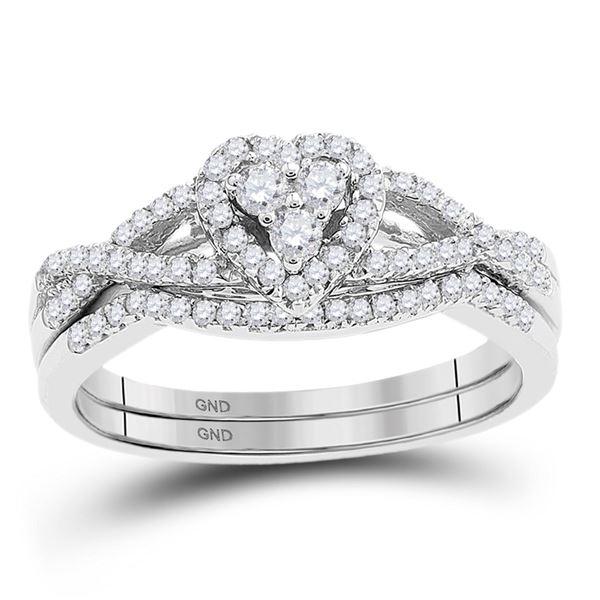 Diamond Heart Bridal Wedding Ring Band Set 3/8 Cttw 10KT White Gold