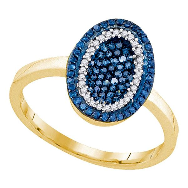 Round Blue Color Enhanced Diamond Oval Cluster Ring 1/3 Cttw 10KT Yellow Gold